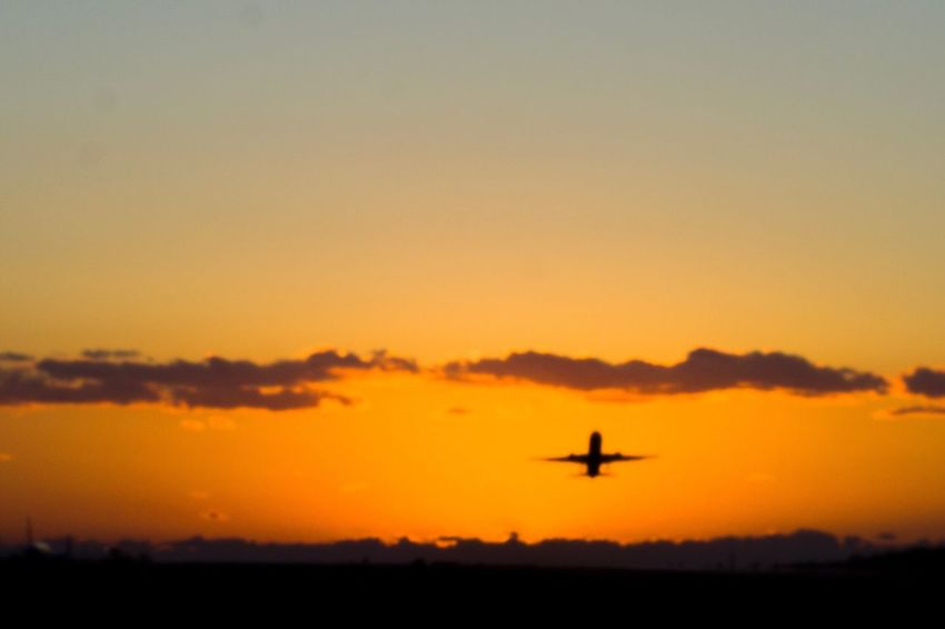 Sunset Flying Transportation Sky Airplane Mid-air No People Air Vehicle Nature Outdoors Day 熊本 くまもと