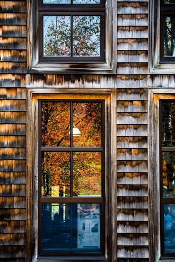 Architecture Wood - Material Nature Window Reflection Fall Autumn Autumn Colors Autumn🍁🍁🍁 Newhampshire Flumegorge