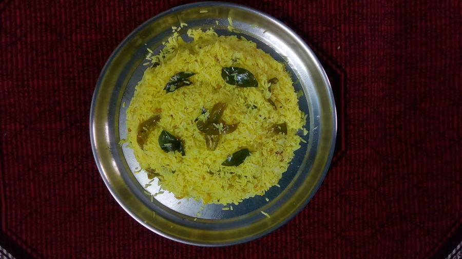 Close-up Yellow Food And Drink Indoors  No People Food Day Healthy Eating Anthropomorphic Smiley Face Ready-to-eat Plate Lemon Rice Pulihora Indian Food Indian Food At Its Best