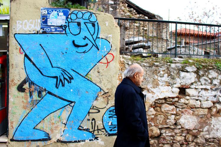 Art Athens Athens, Greece Blue Brick Wall City Day Graffiti Greece Street Art Street Art/Graffiti Streetart Streetphotography Strideby Wall
