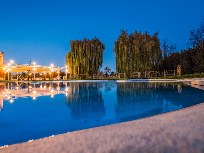 Reflection of trees in swimming pool against blue sky