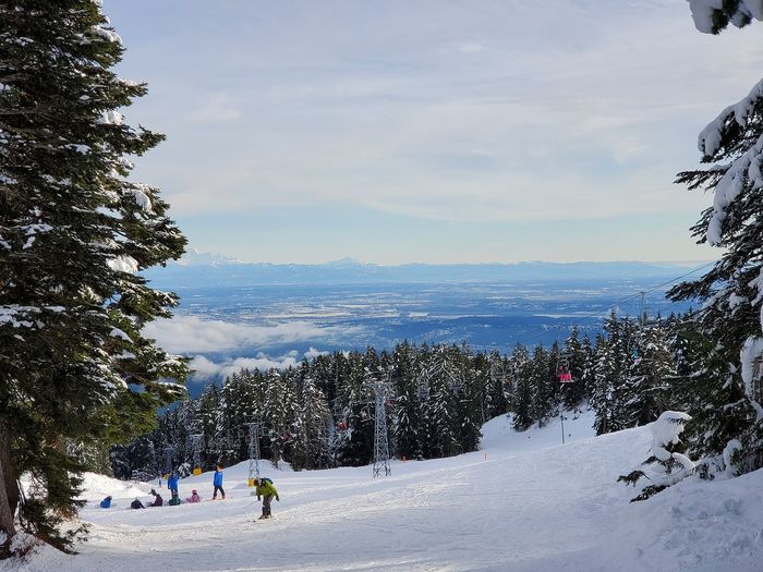 View of people skiing on snow covered land against sky