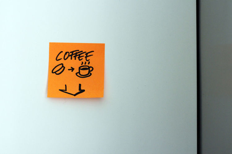 Sticky note in office space with coffee note Caffeine Capsule Coffee Close-up Coffee Coffee Cup Coffee Time Communication Day Drawing Indoors  Instruction Instructions Nespresso No People Office Postit Sticky Notes Sticky Notes Text Yellow