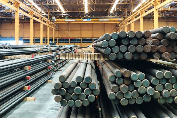 Stack of poles in factory