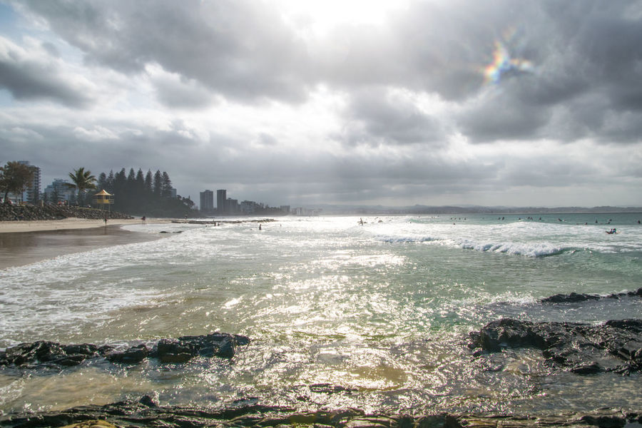 Australia Gold Coast Holiday Tree Beach Beauty In Nature Border Cloud - Sky Coolangatta Nature Newsouthwales Outdoors Power In Nature Queensland Rainbow Bay Scenics - Nature Sea Sky Sunset Water Wave