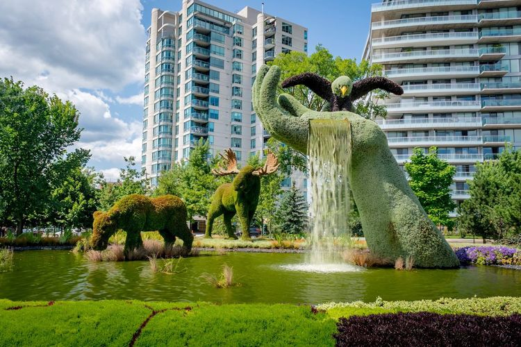 Water Fountain Animal Representation Statue Sculpture Architecture Tree Building Exterior Day Outdoors Built Structure Spraying Park - Man Made Space Motion Elephant Water Park City Animal Themes Grass Mammal Parc Jacques Cartier Ottawa Canada