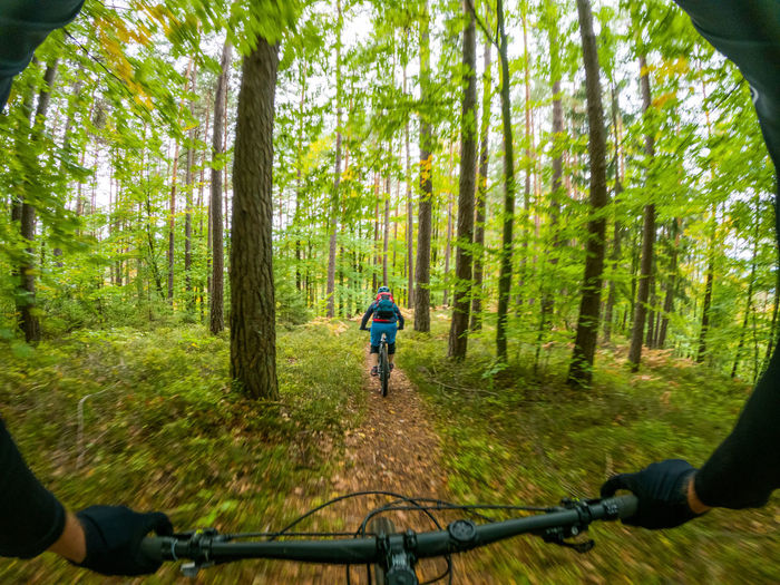 Gopro first person view following a woman mountain biking on footpath in forest.