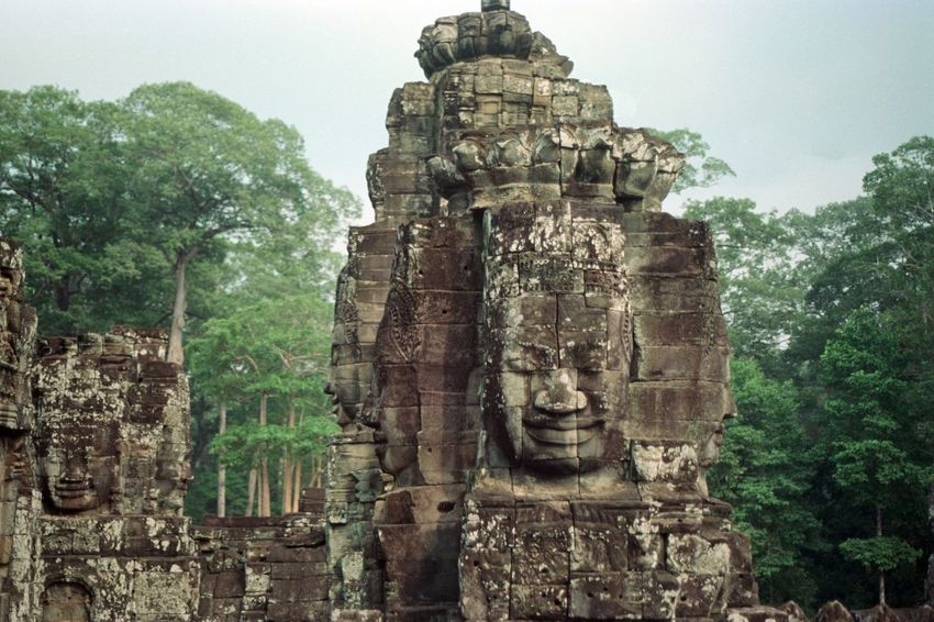 Analog Photography Filmisnotdead Bayon Cambodia Statue Sculpture Ancient Human Representation Religion Carving - Craft Product Spirituality Architecture History Built Structure Ancient Civilization Old Ruin No People Place Of Worship