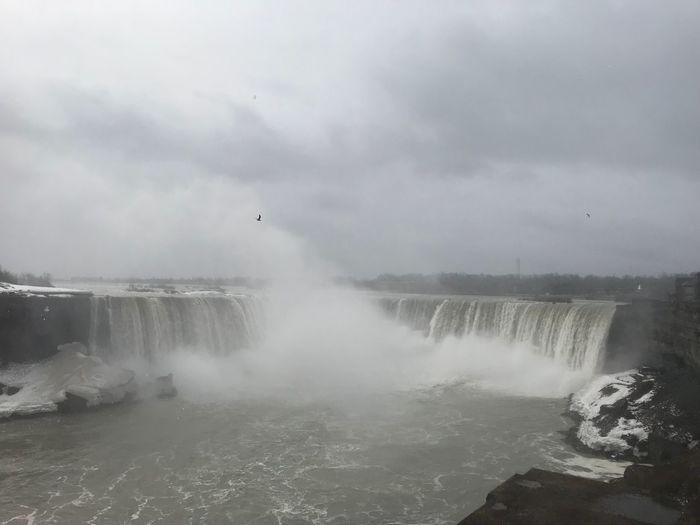 Horseshoe Falls Niagara Falls Canada Niagara Falls Winter Falls View Grey Day Falls Canadian Falls Niagara Falls