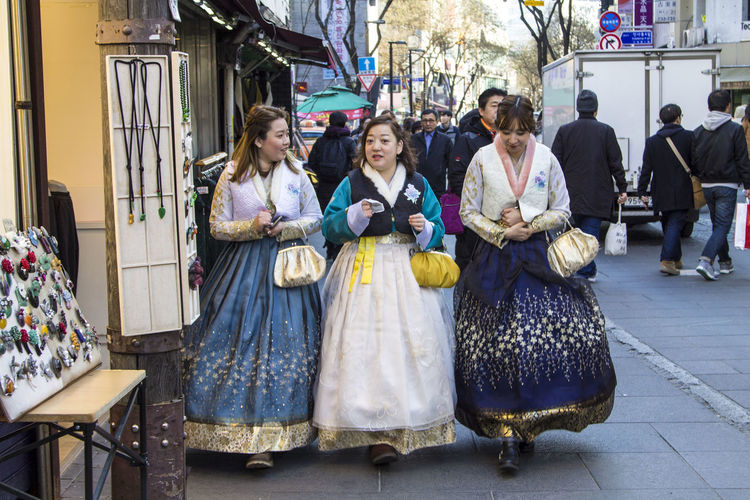 Seoul South Korea Traditional Culture Traditional Clothing Beautiful Woman Clothes Clothing Colorful Day Friendship Hanbok Insadong Smiling Street Fashion Street Style Streetphotography Three Women Traditional Women Only Young Girls