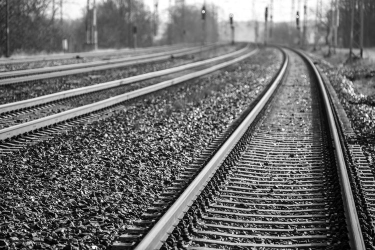 Black And White Lines Logistic Track Railroad Track Rail Transportation Transportation The Way Forward Direction Diminishing Perspective No People Gravel vanishing point Metal Nature Day Travel Plant Mode Of Transportation Focus On Foreground Curve Outdoors Selective Focus Parallel Long 17.62°