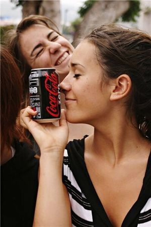 Two People Young Women Young Adult Love Adults Only Kissing Heterosexual Couple Couple - Relationship Cocacola Coke Cocacolazero Women People Adult Togetherness Outdoors Day Close-up