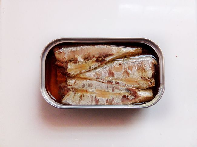 EyeEm Selects Fish Sardine Sardinesinacan Cannedfood Colorfull White Background Indoors  Close-up Day No People