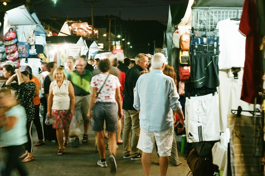 Full Length Travel Adults Only Women People Large Group Of People Group Of People Adult Customer  Men Consumerism Commuter Outdoors Crowd Night Night Market In Thailand Olympus Olympus Mju Film Filmisnotdead Film Is Not Dead Film Photography Filmphotography Analogphotography Agfa