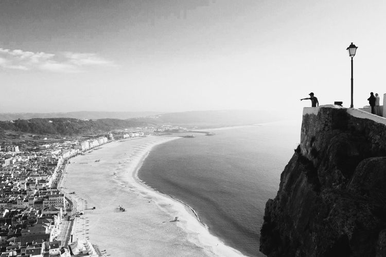 Sky Real People Myself Sea Nature Day Beauty In Nature Leisure Activity Water Scenics Men One Person Blackandwhite Nazaré  Portugal Europe Goodplace Height Gigantic Waves