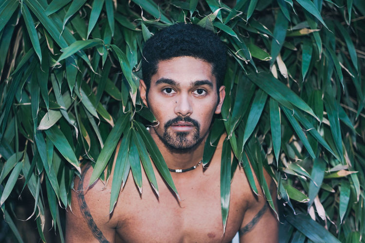 Portrait Of Shirtless Young Man Amidst Leaves