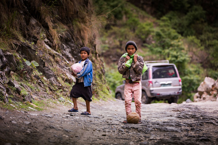 Little football players on the way to Jharkot,Nepal The Photojournalist - 2016 EyeEm Awards The Street Photographer - 2016 EyeEm Awards Nepal Kids Bestoftheday