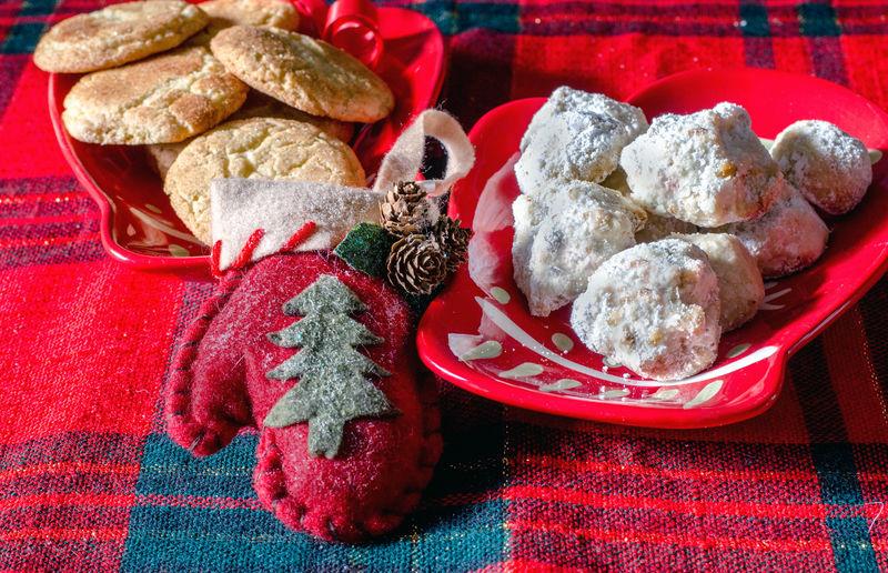 Food on table during christmas