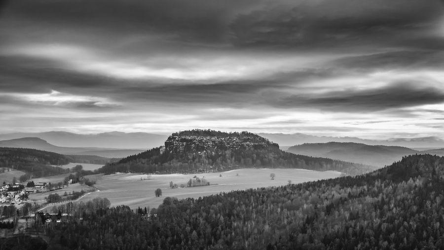 Königstein Rock Landscape Black And White