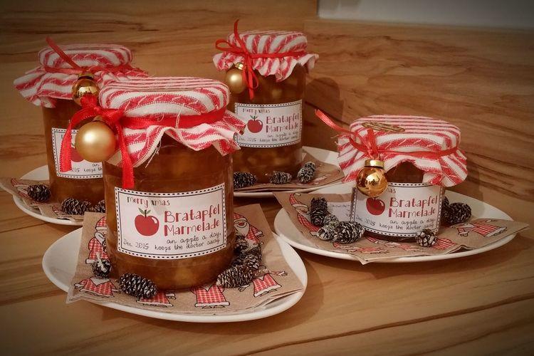 Homemade Food Jam Selfmade Christmas Presents  For My Friends Cooking At Home Bratapfel Apple Cinnamon Apple Jam