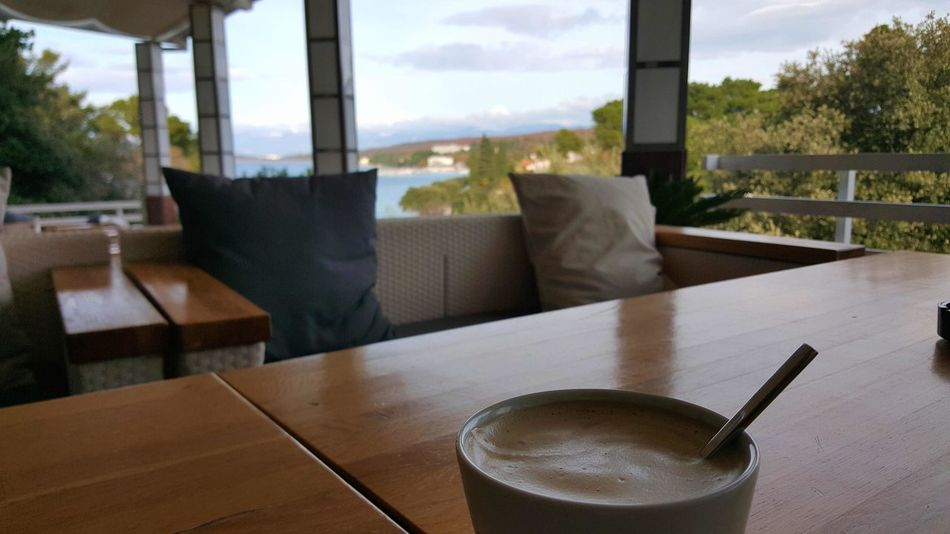 EyeEm Nature Lover Sea View Table Indoors  Drink Koffee Food And Drink Window Coffee - Drink Refreshment Day Chair Tree Water Freshness Close-up No People No Filter Travel Destinations Croatia