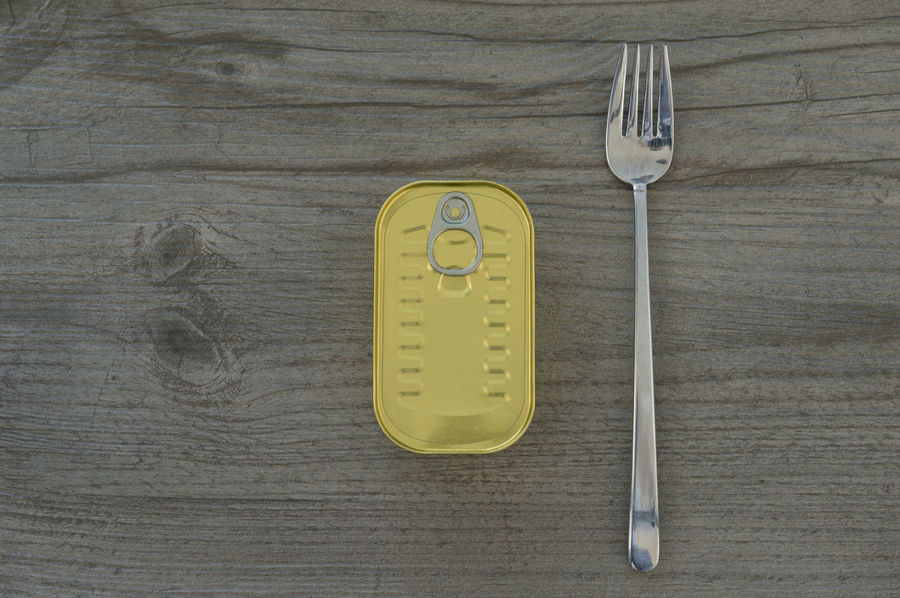 Tinned Can and a Fork Above Can Canned Food Close-up Closed Conservation Day Directly Above Fish Food Food And Drink Fork Freshness Healthy Eating High Angle View Indoors  Mackarel No People Sardine Simplicity Table Tin Can Tinned Tinned Fish Wood - Material