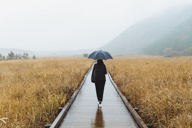 The Great Outdoors - 2018 EyeEm Awards Day Fog Full Length Landscape Leisure Activity Lifestyles Nature One Person Outdoors Rain Rear View Scenic Landscapes Scenic View Scenics Tranquil Scene Tranquility Umbrella