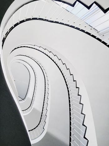 Berlin Spiral Indoors  Repetition Built Structure Spiral Staircase Design High Angle View Architecture Berlin Staircase Directly Below Railing Building Story Steps Diminishing Perspective Modern Concentric Spiral Stairs Coil Architectural Feature Battle Of The Cities Capture Berlin