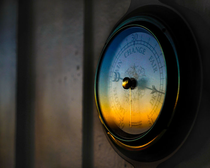 Barometer Circle Close-up Colors Colour Detail Dusk Focus On Foreground Nautical Theme No People Old-fashioned Old-fashioned Reflection Rustic Selective Focus Shiny Simplicity Single Object Steampunk Still Life 43 Golden Moments Technologh Weather Wood