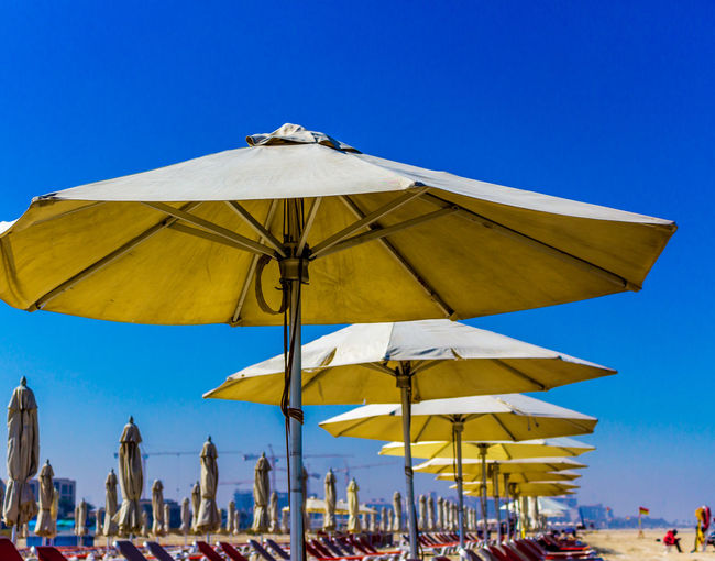 Parasols and lounge chairs at beach against clear blue sky
