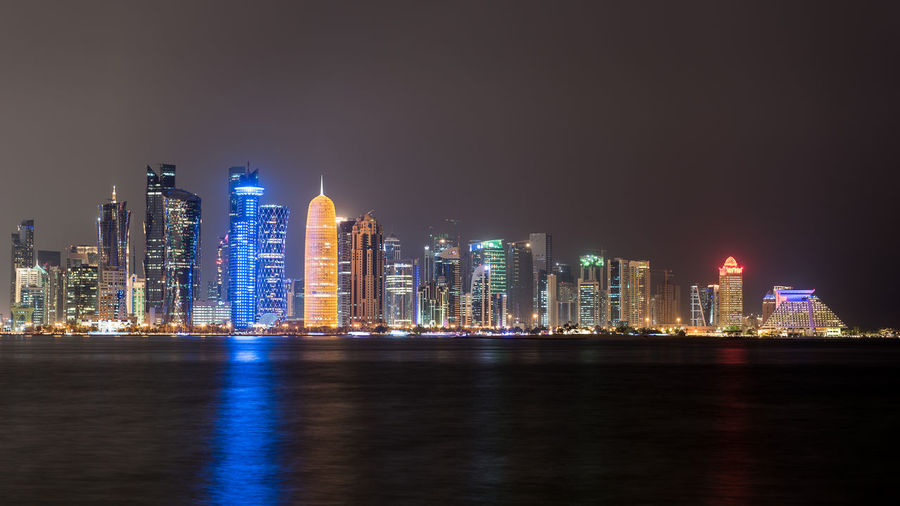 Doha skyline at night Architecture Building Built Structure City Cityscape Doha Doha,Qatar Downtown District Gulf Light Middle East Modern Night Night Photography Night Scene Night Shot Night View Nightscape No People Outdoors Qatar Skyline Skyscraper Travel Destinations Urban Skyline