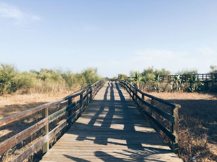 caminho para o paraíso Sun Shadows EyeEmNewHere Portugal Algarve Beach Sky Direction The Way Forward Nature Diminishing Perspective Connection Plant Bridge Shadow Footbridge vanishing point Clear Sky Day Sunlight No People