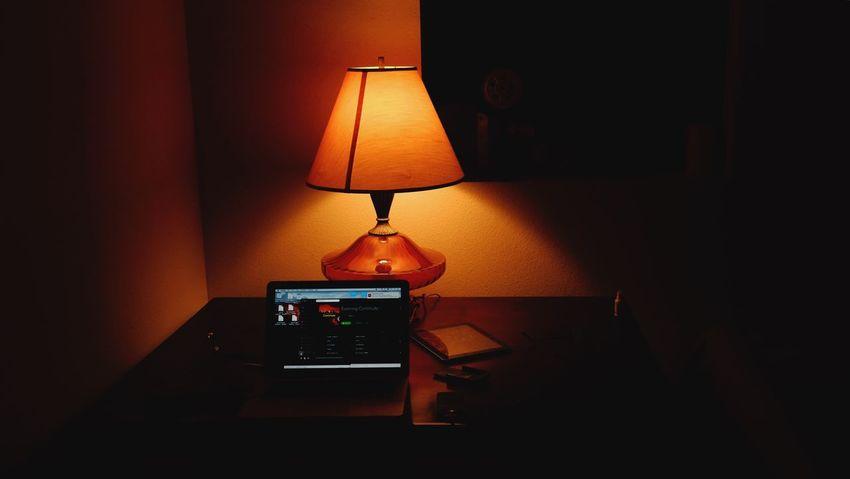 January 6, 2016 QVHoughPhoto FujiFilmX100 Freelance Life Writer Desk Lamp Lighting Fargo Northdakota Computer MacBookPro