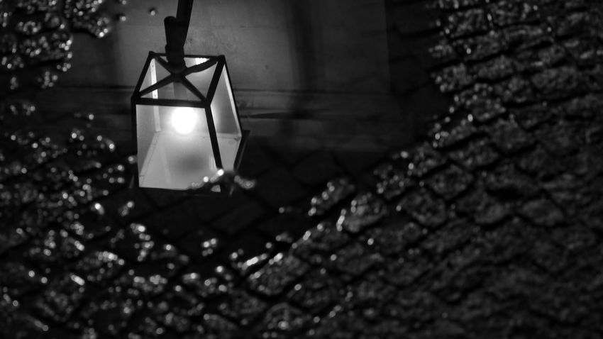 Reflection Rainy Days Urban Pavement Night Streelight EyeEmNewHere Hanging Night No People Illuminated Close-up Outdoors