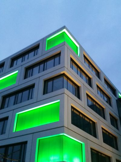 Neon Green Architecture Building Showcase April Symmetry Symmetrical