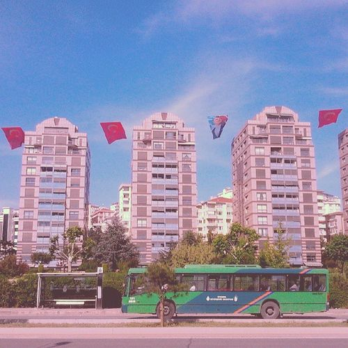 Turkishflag Sky Buildings Bus kartal istanbul turkey seaside instaturk