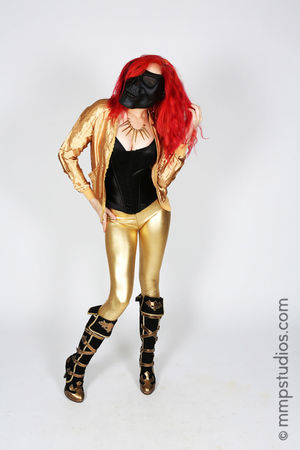 @mmpstudios_com @melvinmaya Photography Photographer Model Redhead Gold Gorgeous Beautiful Boots Skull Mask Masked Studio Shot Full Length Front View White Background Houston Texas One Person Standing Dyed Hair Creative Artistic Original