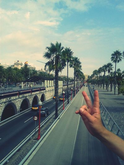 Cropped hand of person showing peace sign over road against sky