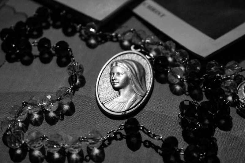 Mother Mary Mothermary Mothermaria Maria #Jesus #catholic Pocket Watch Table High Angle View Close-up Pendant