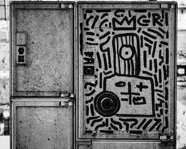 Arts Culture And Entertainment Art is Everywhere Urban Perspectives Street Photography Black & White Streetart Built Structure No People Day Pattern Outdoors Protection Closed Security Safety Ornate The Devil's In The Detail Graffiti Abstract Art The Street Photographer - 2019 EyeEm Awards My Best Photo