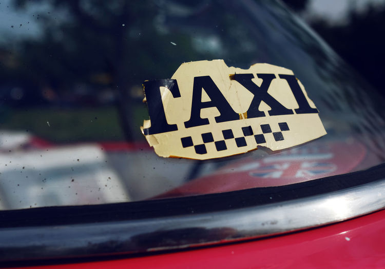 Sticker Taxi Cabrio Car Daylight Old Window