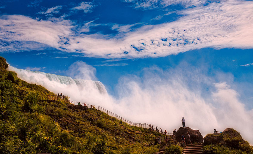 Panoramic shot from the side of niagara falls towards the sky