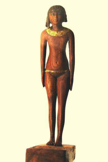 Art Art And Craft Artist ArtWork Balance Casual Clothing Creativity Egyptian Museum Of Turin Figurine Girl Neferetmau Front View Full Length Human Representation Lifestyles Old-fashioned Real People Religion Side View Standing Studio Shot Three Quarter Length Young Adult