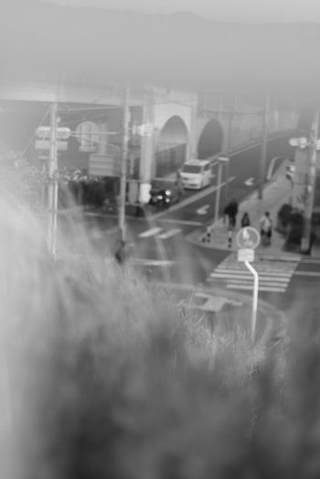 Black And White City Fog Water Locomotive Subway Train Commuter Train Sky