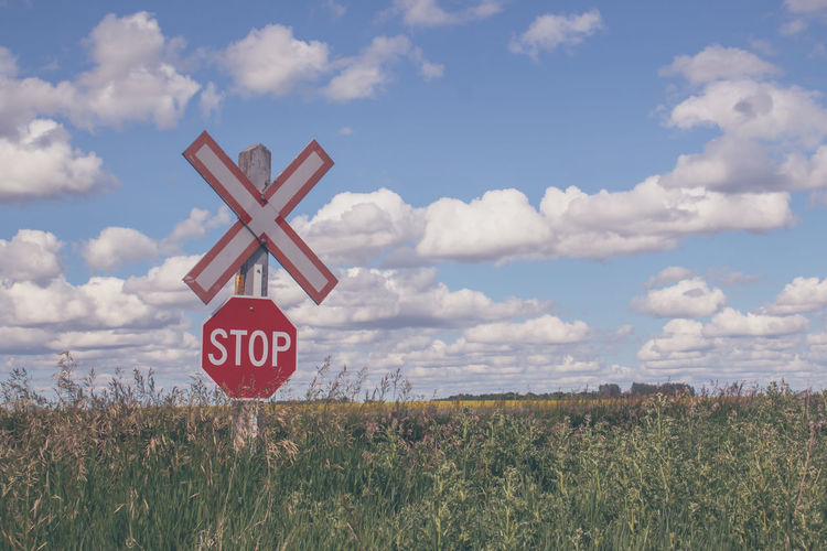 My Canada Beauty In Nature Canada 150 Canola Field Clouds And Sky Communication Day Farmer's Field Field Grass I Can See For Miles Landscape Landscapes Nature No People Outdoors Prairie Scenes Railroad Crossing Railroad Crossing Sign Red Scenic View Scenics Signage Sky Somewhere In Saskatchewan Canada The Week On EyeEm Breathing Space Colour Your Horizn Summer Road Tripping