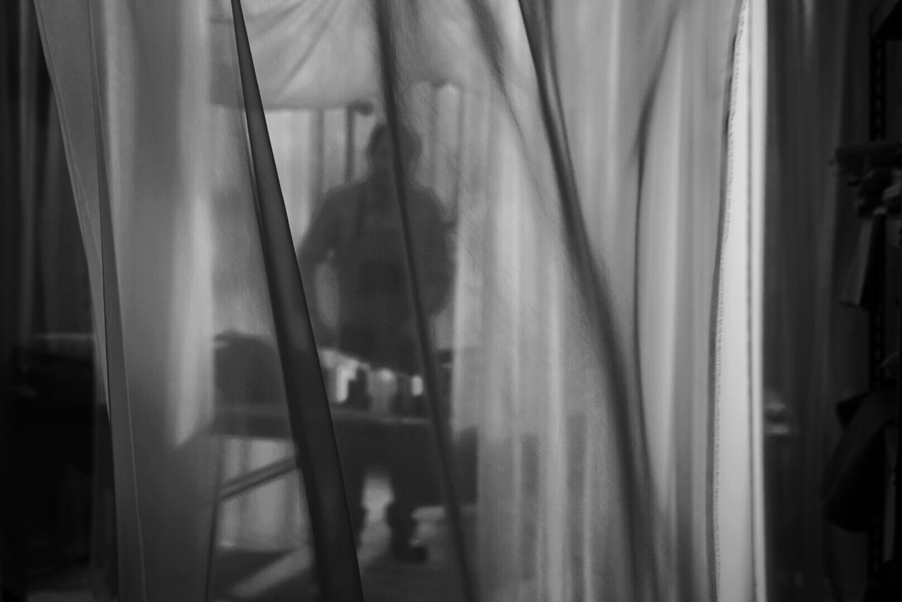 curtain, transparent, indoors, window, no people, textile, glass - material, day, home interior, hanging, close-up, translucent, reflection, domestic room, absence, focus on foreground, sunlight, see through, looking