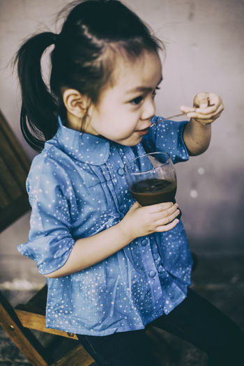Drink Milk Coconut Bird Egg Running, Blue Shirt Cofee Cute Day Drinking Lifestyles Little Girl One Person Playground Playing