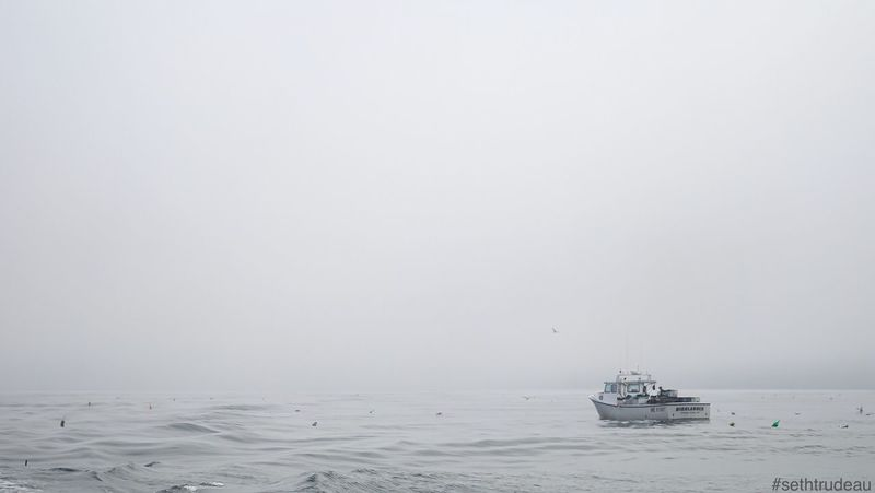 Foggy lobster fishing trip Sethtrudeau Photography Haunted Ghost Ghostly Scary Fog Dense Gray Lost Lonely Scared Haunting  Dream Dangerous Black White Gray Hauntedship Hauntedboat Water Ocean Boat Blackandwhite Black & White