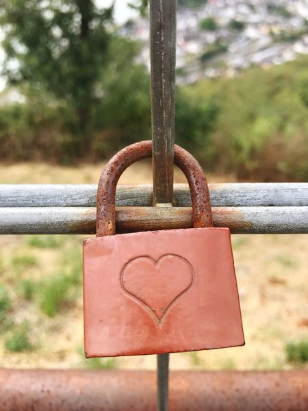 Love Lock Metal Lock Focus On Foreground Heart Shape Love Safety Close-up Railing Hanging Padlock Emotion Day Protection Positive Emotion Security Fence No People Barrier Outdoors