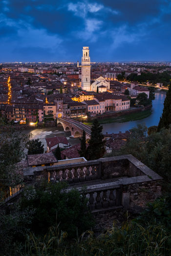 View from Castel San Pietro Weekend Travel Tourism Love Beautiful Beauty In Nature Skyline Panorama View Clouds City Italy Veneto Castel San Pietro Architecture Building Sky History River Adige Lights Water Architecture Bluehour
